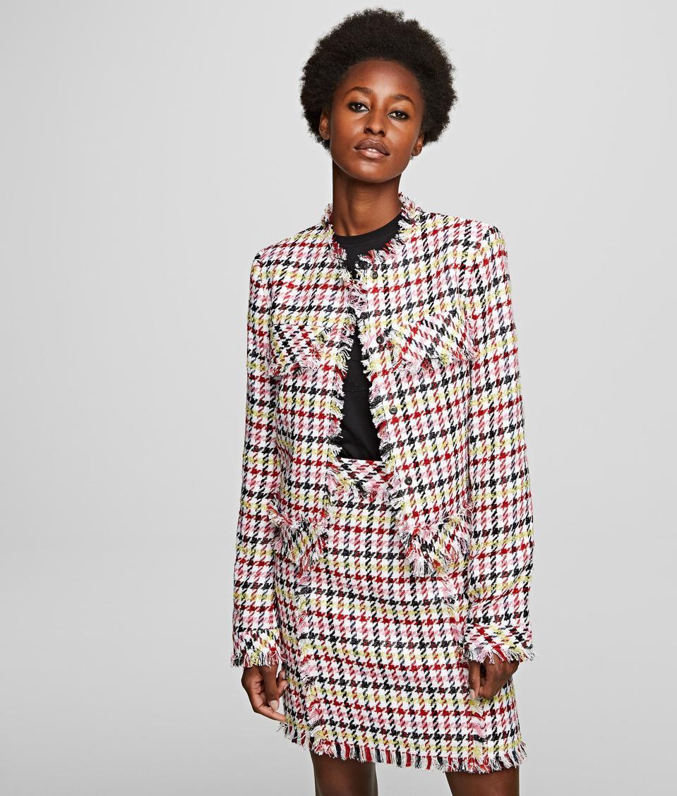 Veste et jupe en pied-de-poule bouclé par Karl Lagerfeld