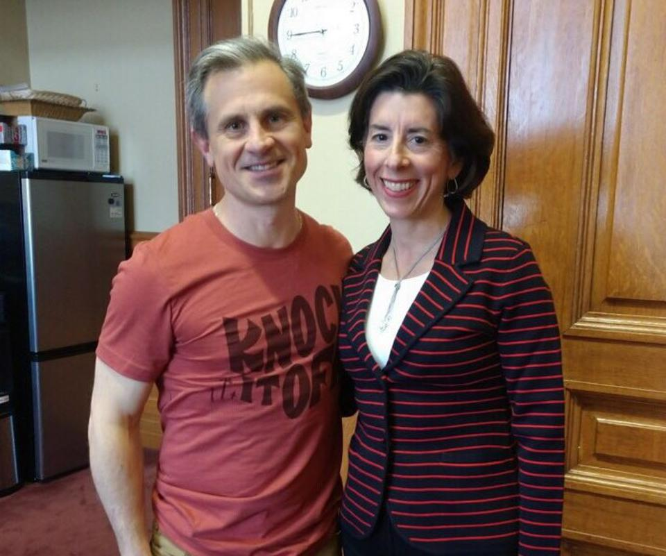 First Gentleman Andy Moffit wearing the t-shirt inspired by Governor Gina Raimondo's unique stay-at-home order