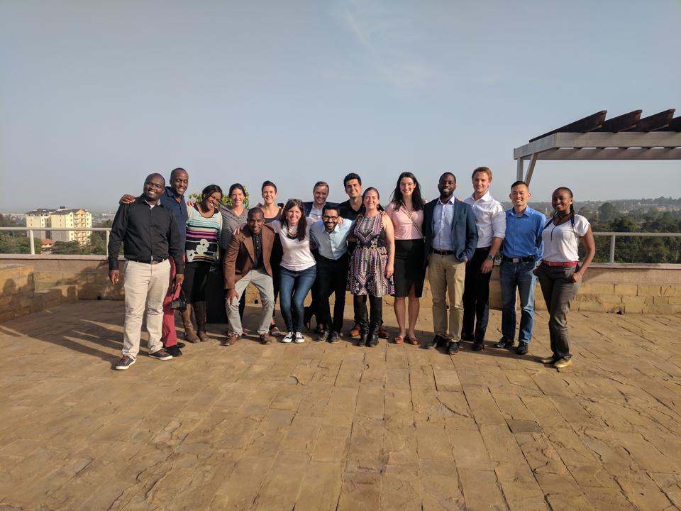 Lauren Cochran (kneeling) with members of portfolio companies in Nairobi
