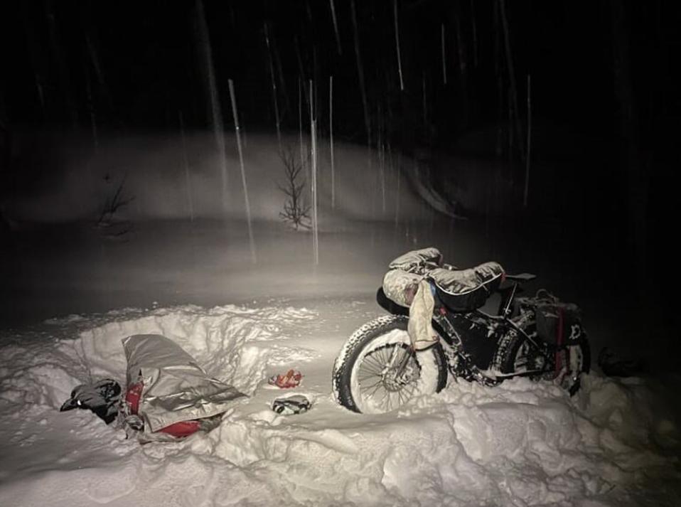 Rebecca Rusch's bike and sleeping bag on the Iditarod Trail in Alaska