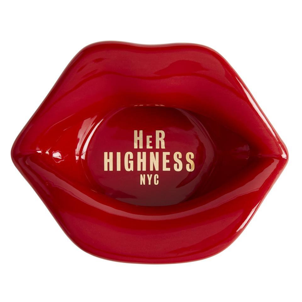 red lips ceramic ashtray