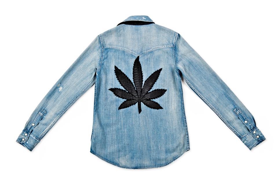 denim shirt with a black cannabis leaf