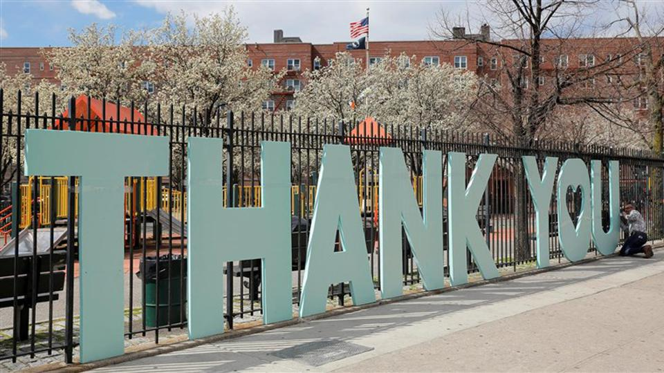 Scott LoBaido installed 'Thank You' near Queens Hospital in Queens