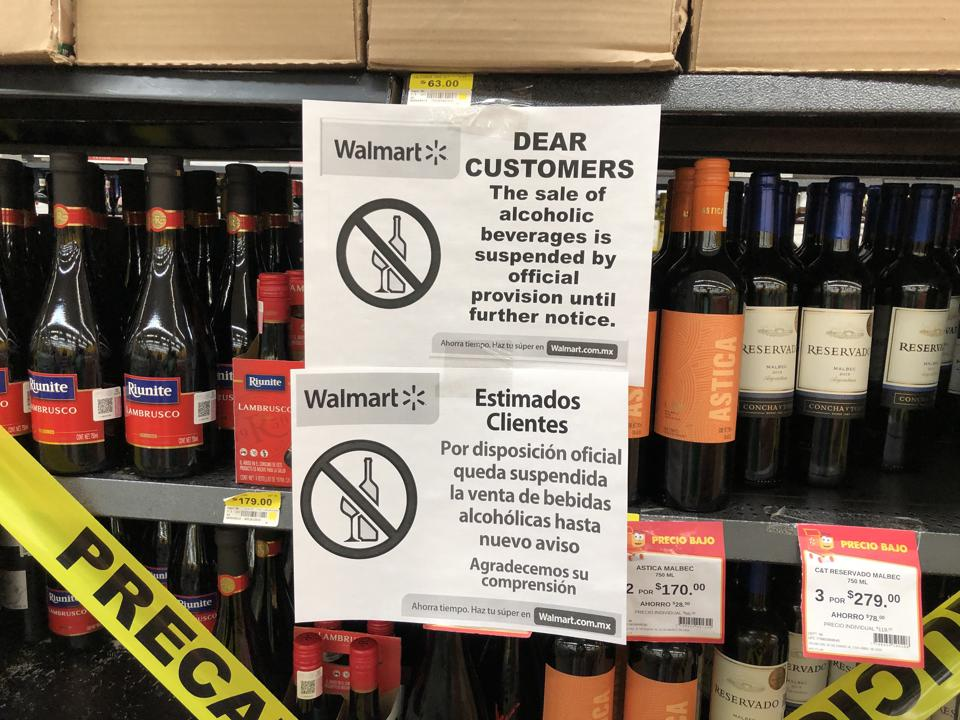 Mexico Walmart with no alcohol for sale sign