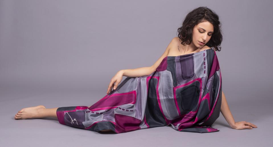 silk scarf on model