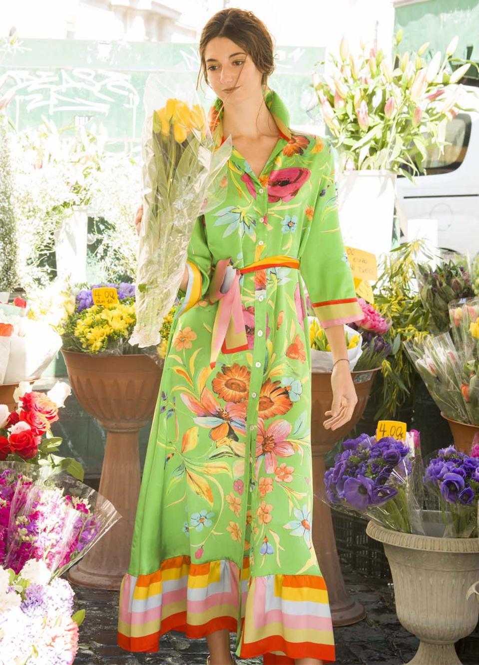 green silk dress with flowers