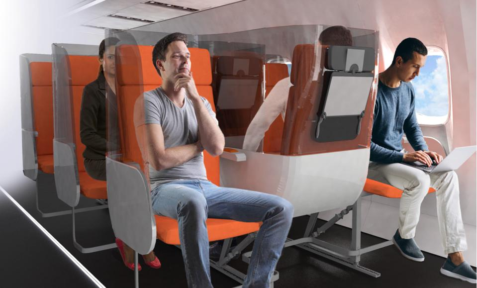 Aviointeriors proposal for the Janus seat, a forward/aft facing seat combination which would give all three passengers adequate separation in the cabin.