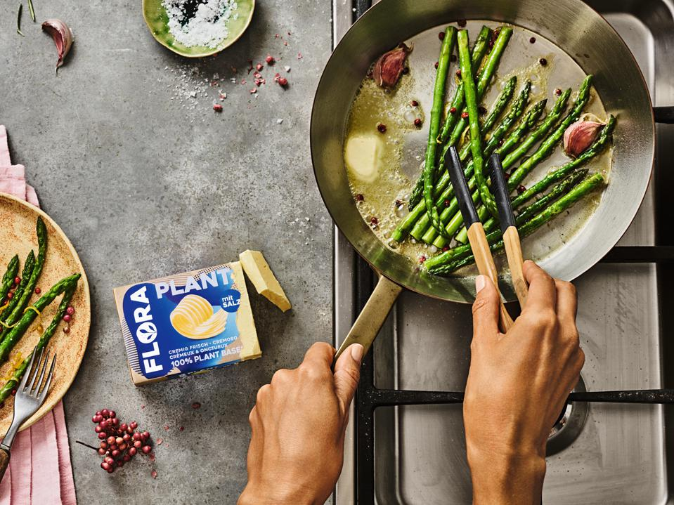 Upfield Group's plant-based butter Flora has no trans fats.