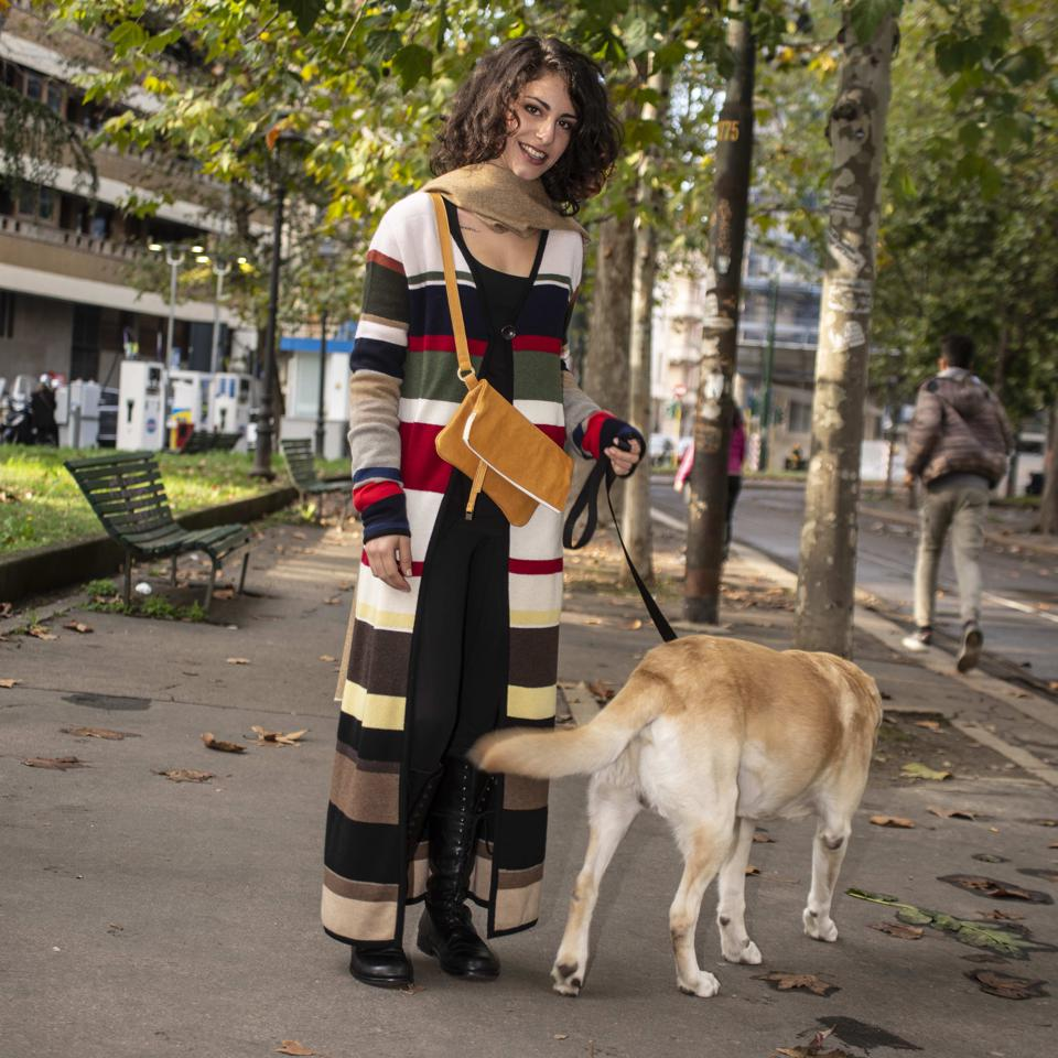 cashmere sweater on woman with dog