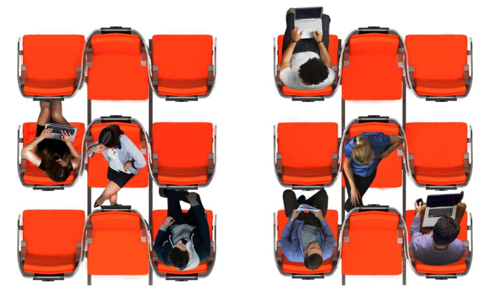 Overhead image of Aviointeriors Janus triple seat, with shield wrapping around the three passengers.