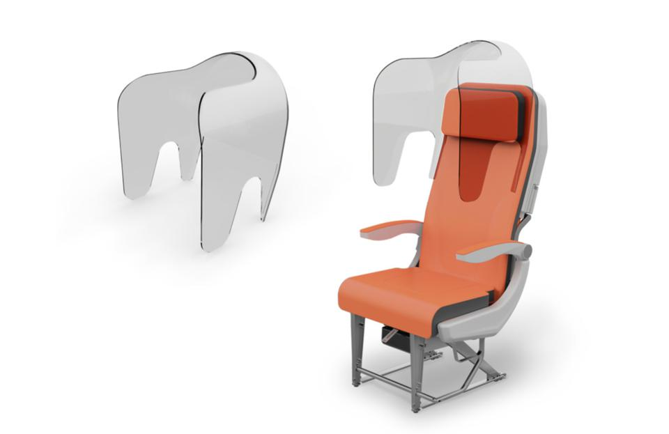 The Aviointeriors 'Glassafe' hood could be added to seats to create greater isolation between passengers.