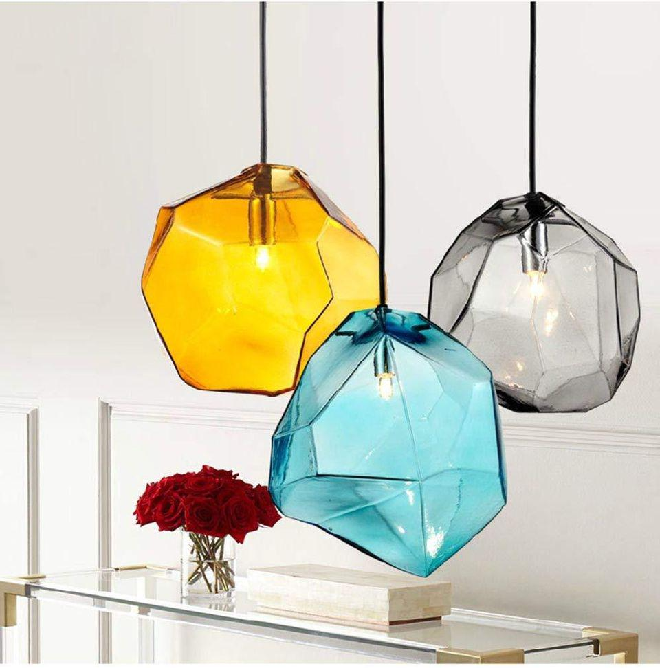 Lovedima Stone 1-Light Mini Colorful Glass Pendant Light Ceiling Lighting Fixture Lamp Blue yellow gray
