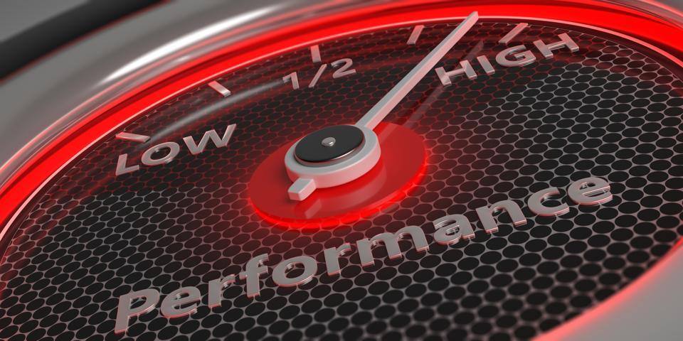High performance. Car gauge closeup. 3d illustration