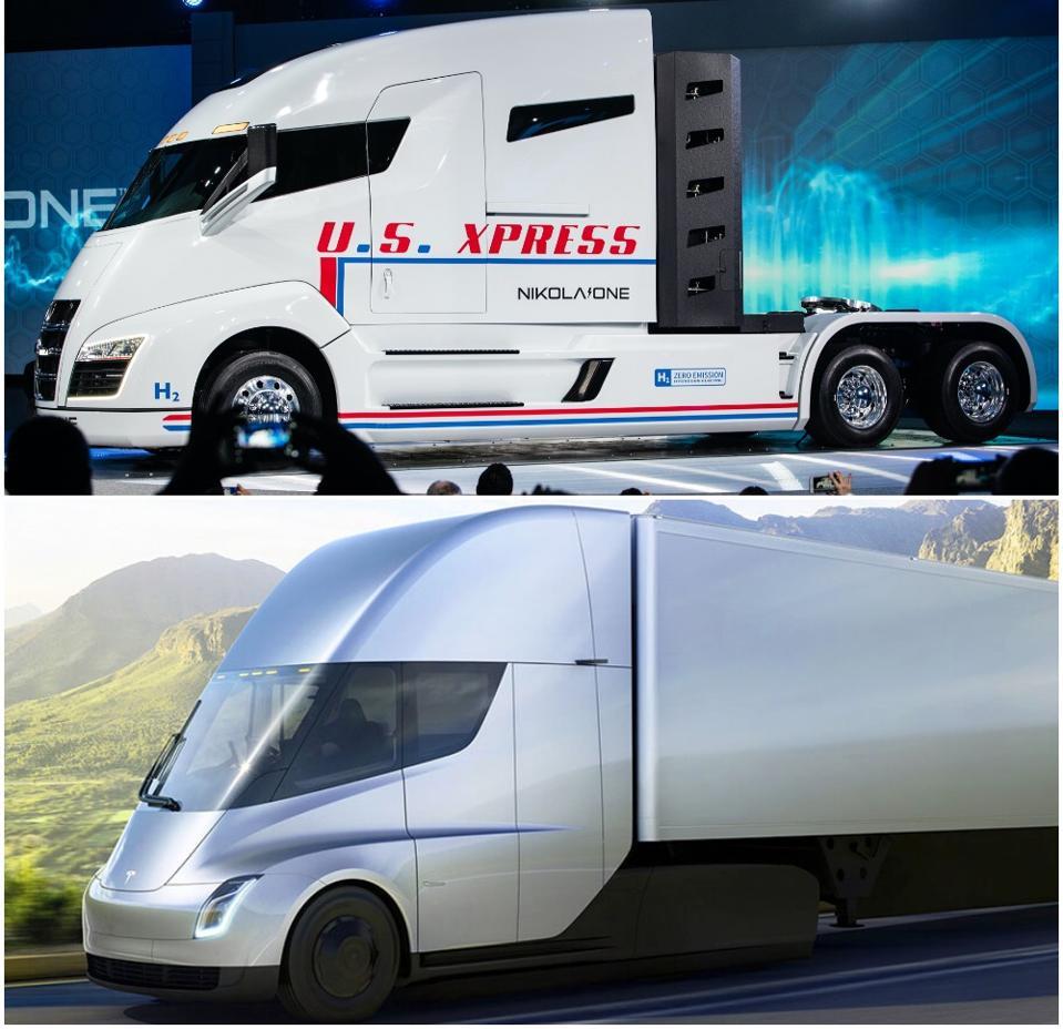 Nikola One hydrogen truck and Tesla Semi