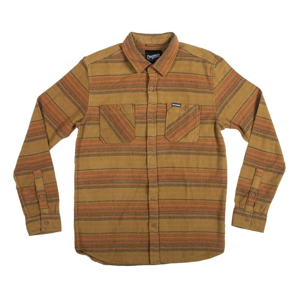 a brown flannel shirt
