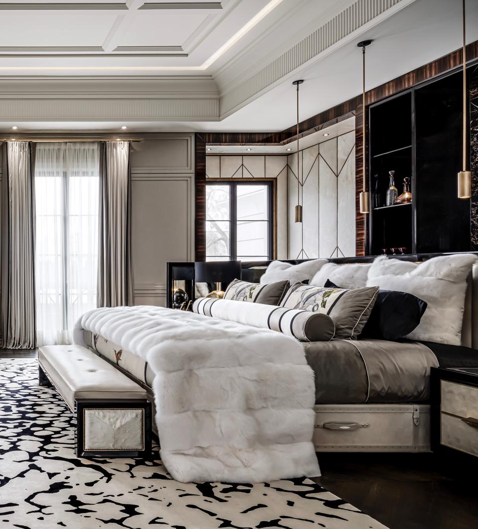 Pictured in the master suite of his Toronto home, Drake's Grand Vividus bed from Hästens by Ferris Rafauli