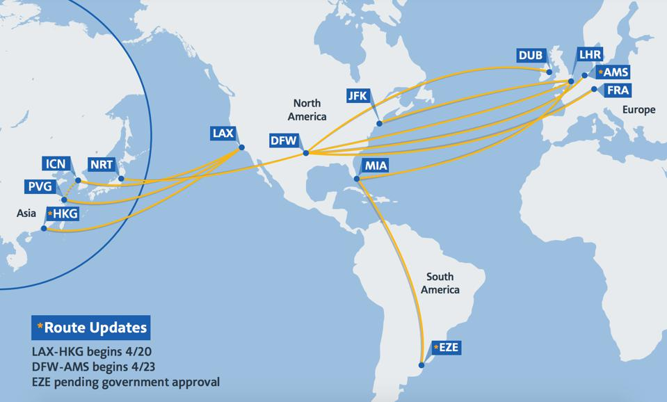 American Airlines' global cargo-only network