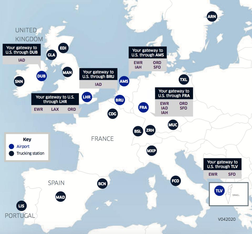United Airlines' Europe and Middle East cargo network