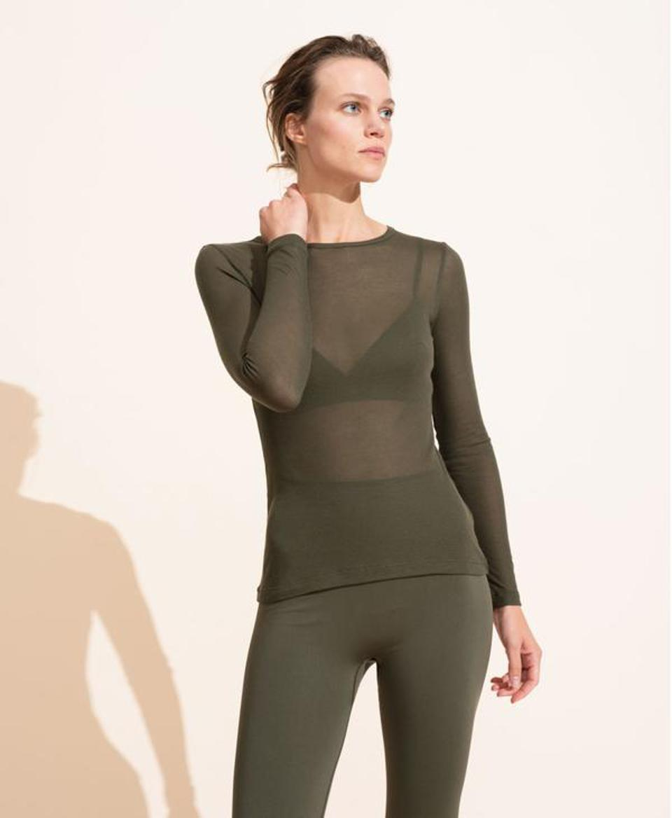 Ernest Leoty Alice Rib Long Sleeve Top - Olive