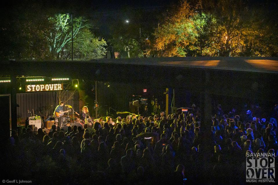 A panoramic shot of Shovels & Rope playing a set at the Savannah Stopover Music Festival