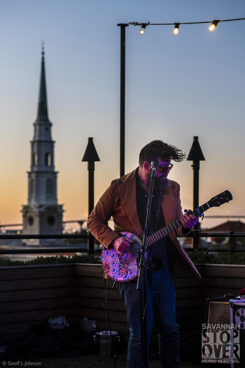 Tall Tall Trees playing music over the rooftops of Savannah.