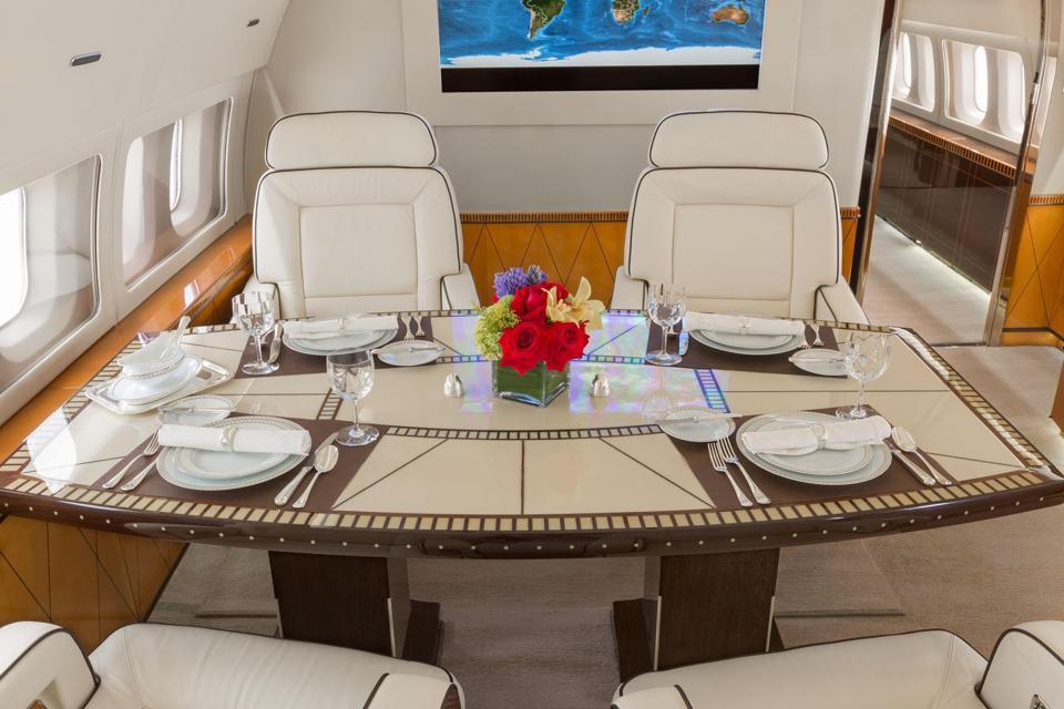 Tony Robbins' private jet interior
