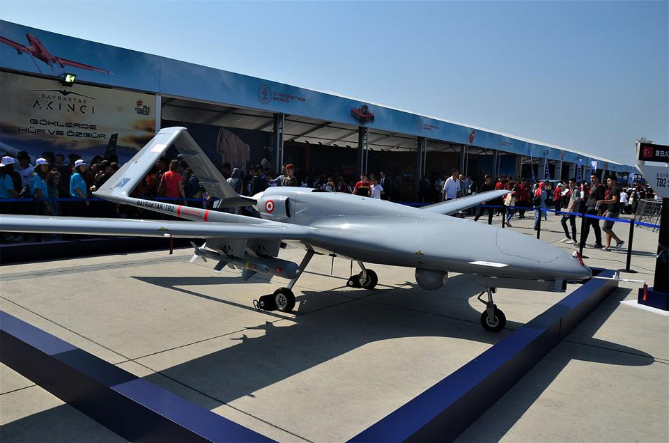 A Bayraktar TB2 drone at a technology show in Turkey in 2019.