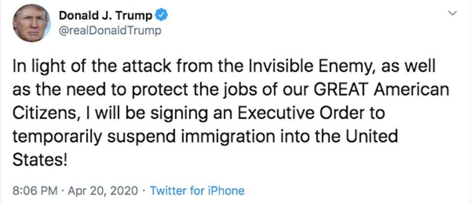 Trump coronavirus immigration tweet