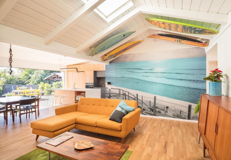 This Encinitas, CA house has great natural lighting, a comfortable outdoor space and an open floor plan comfortable for this young family.