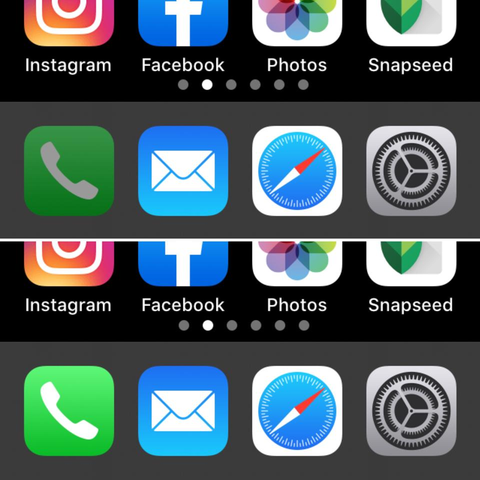 Two screengrabs showing the iOS Phone app tile dimmed and undimmed