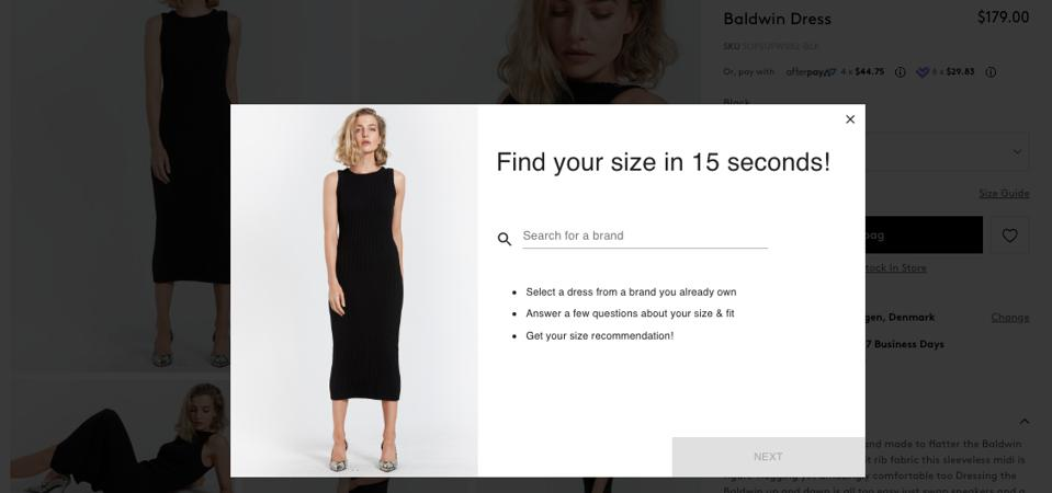 Virtual sizing solution by Easysize.me