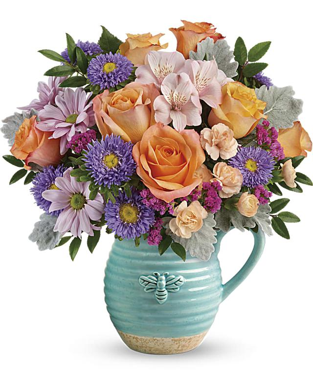 Teleflora's Busy Bee Pitcher Bouquet