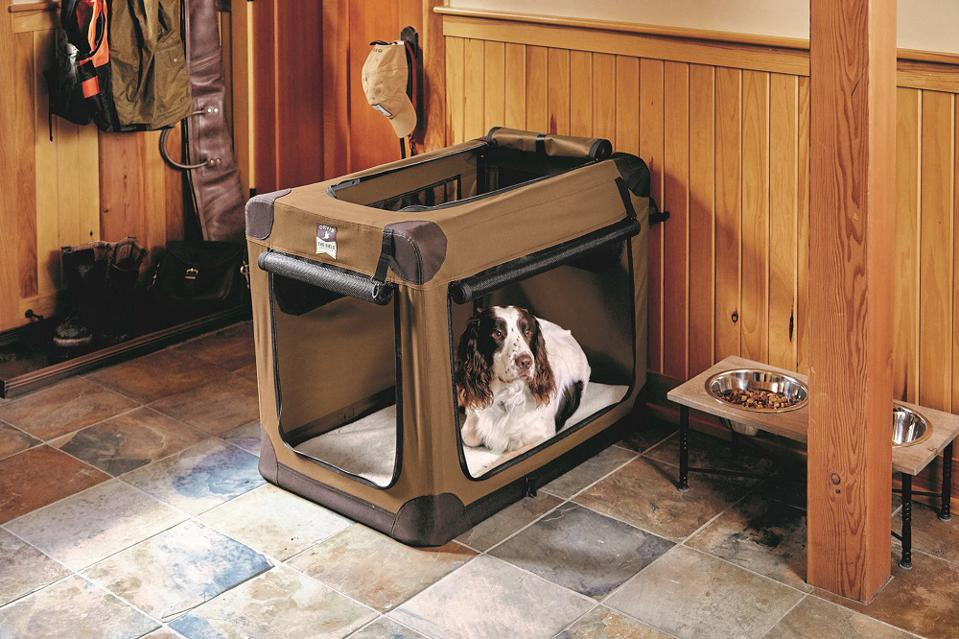 Orvis dog crate and bowls