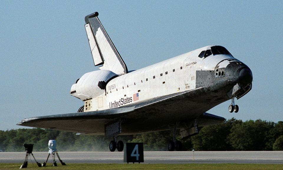 Space Shuttle Columbia landing at the Kennedy Space Center.