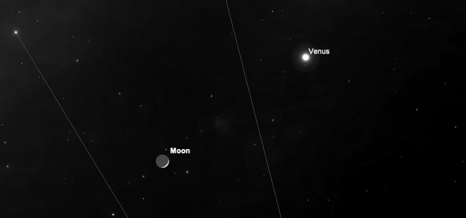 """Sunday, April 26, 2020:  With the Moon 12% illuminated and with """"planetshine"""" becoming harder to see, our satellite appear to be close to the planet Venus, which is now at almost the brightest it ever gets."""