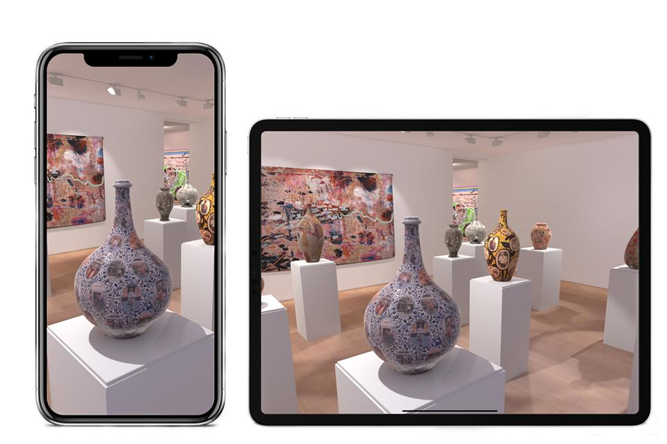 A mockup of the Vortic Curate App showing a VR representation or Grayson Perry's exhibition Super Rich Interior Decoration at Victoria Miro.