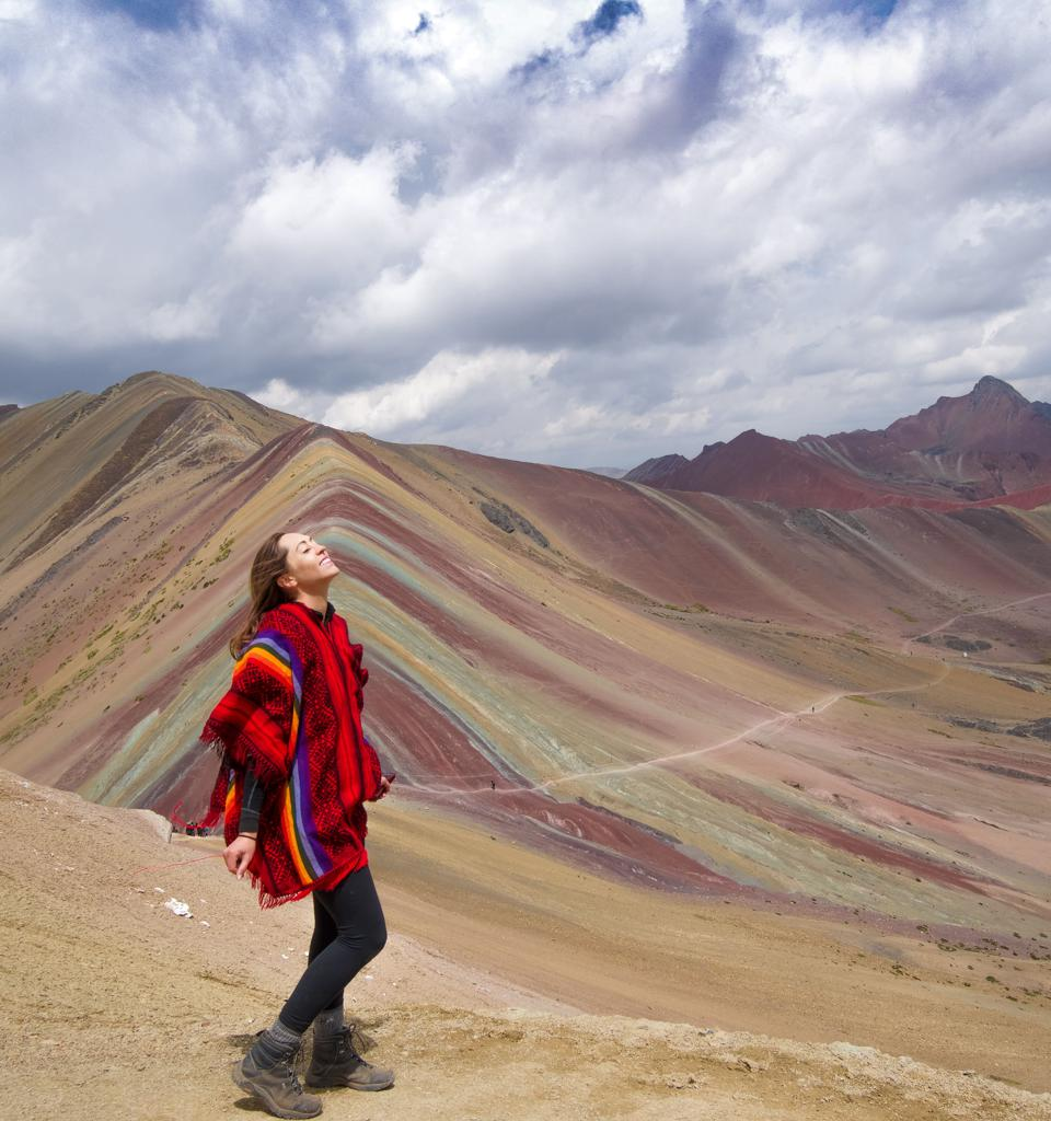 Kristin Addis near a picturesque mountain in Egypt.