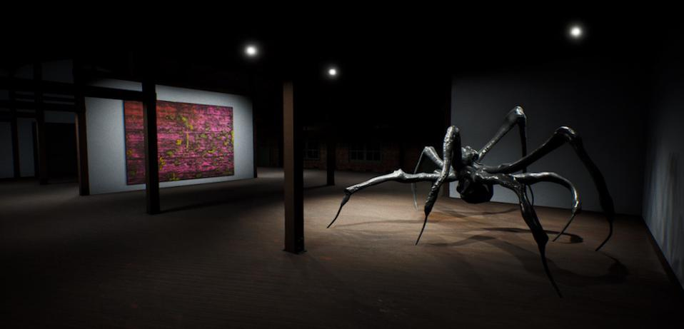 ArtLab, Hauser & Wirth Los Angeles interior view, created in HWVR. Works pictured by Jack Whitten and Louise Bourgeois.