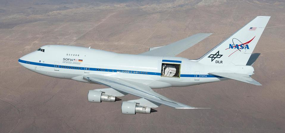 SOFIA, a modified Boeing 747SP carrying a 2.7-m telescope.