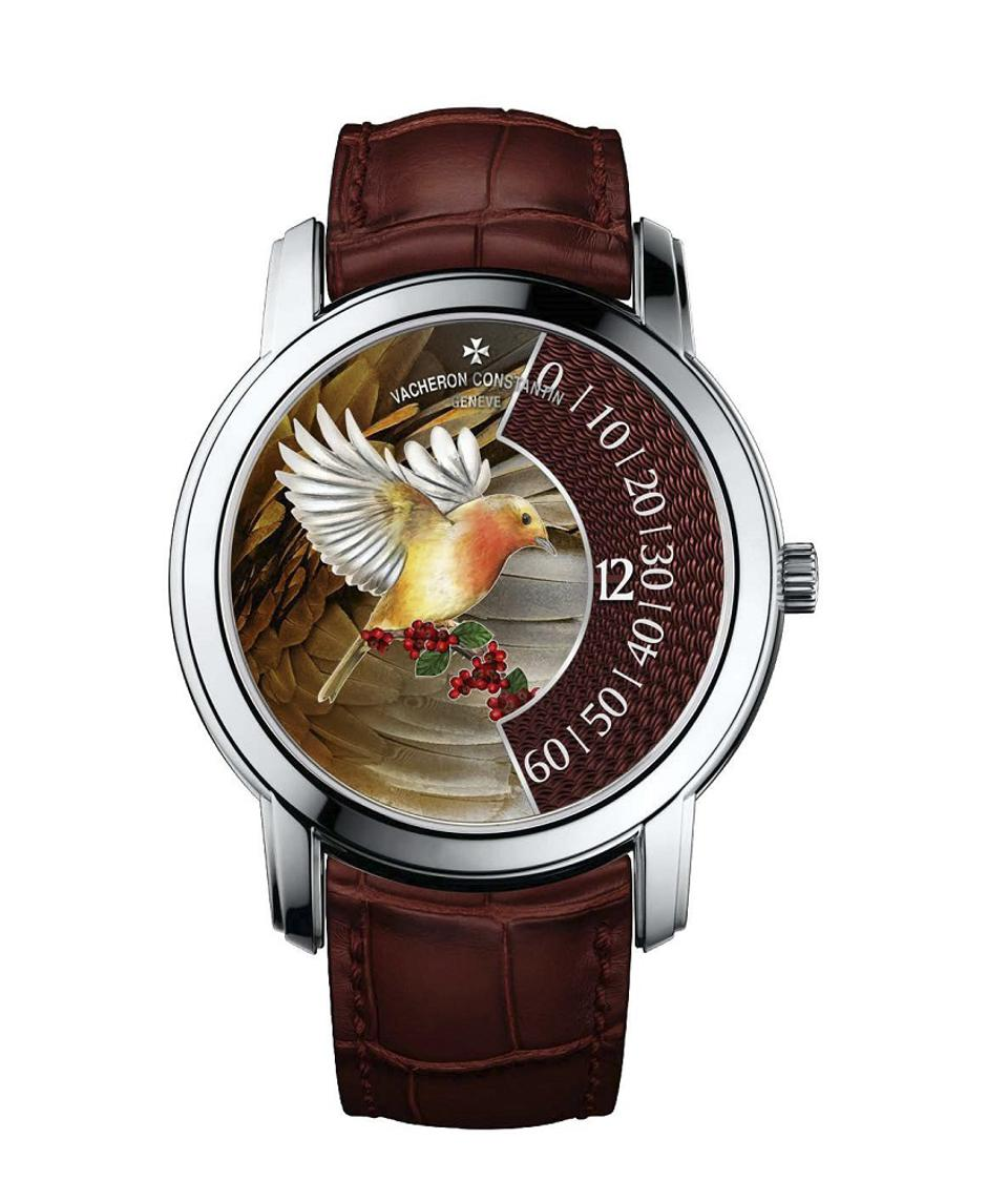 """Les Cabinotiers – """"The Singing Birds,"""" depicts a robin made with champlevé enameling"""