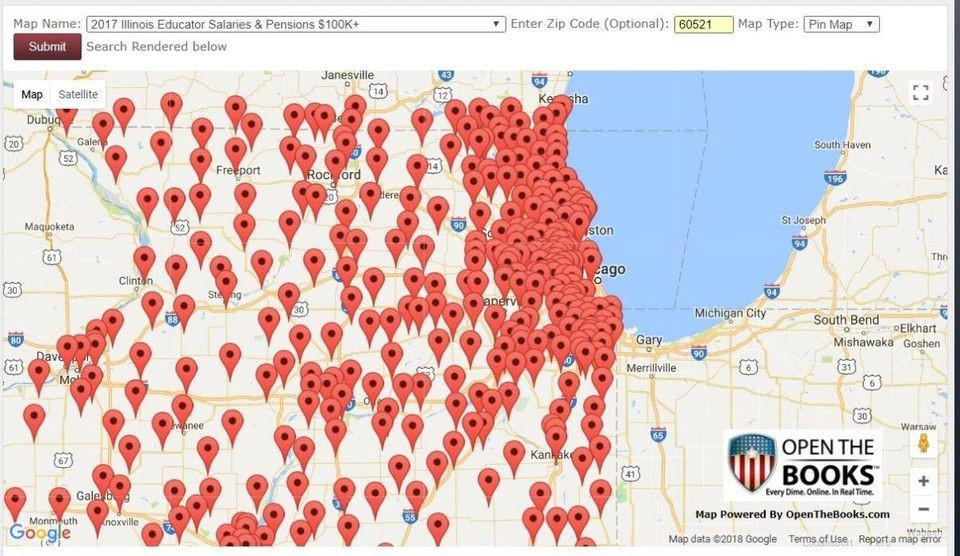 110,000 six-figures public employee salary and pension records by ZIP Code in Illinois.