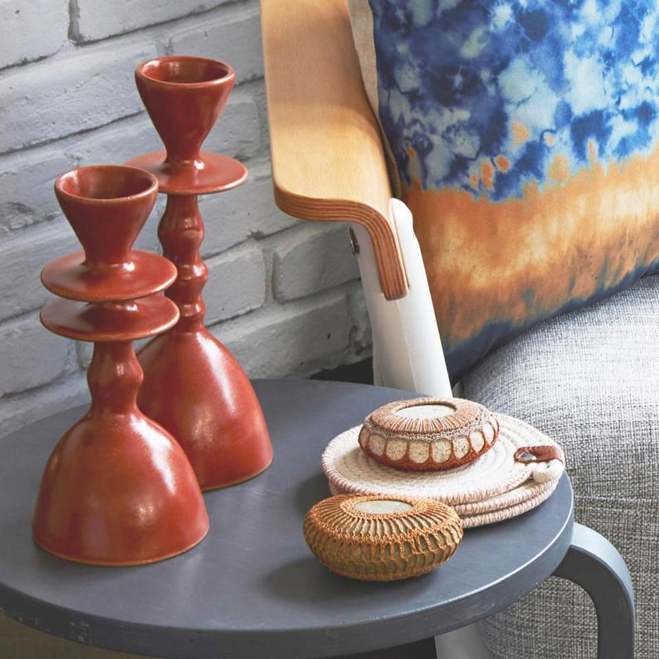 Altuzarra x Etsy, Set of 4 limited edition cognac glazed candlesticks. Artist made sculptural objects for the home.
