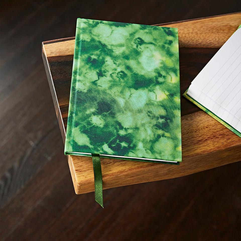 Altuzarra x Etsy A5 Lined Limited Edition Notebook Hand Covered in a Striking Green Polyester Tie Dye Fabric
