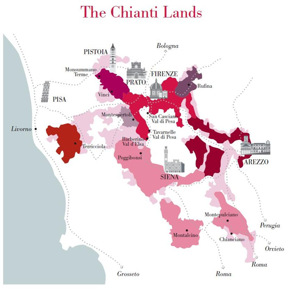 Detailed map of the Chianti zones