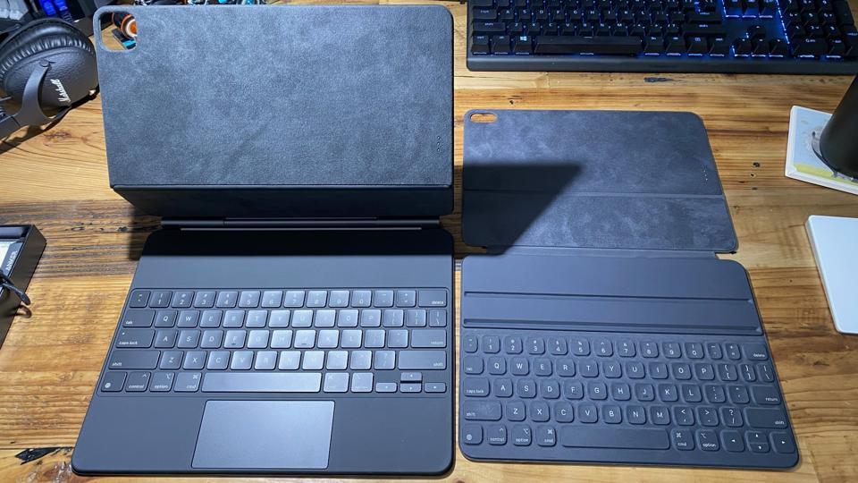 Magic Keyboard open (left), Smart Keyboard Folio (right)