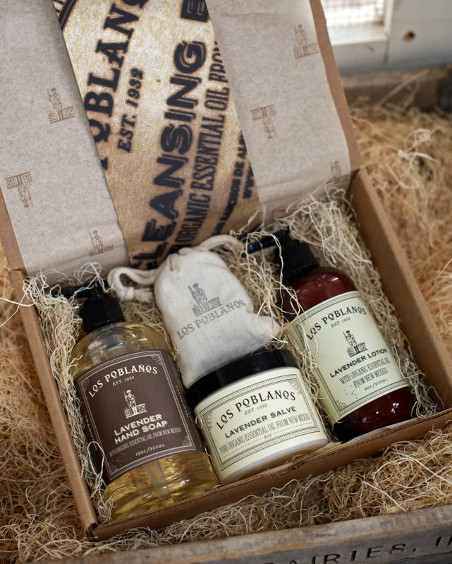lavender spa products in box with straw