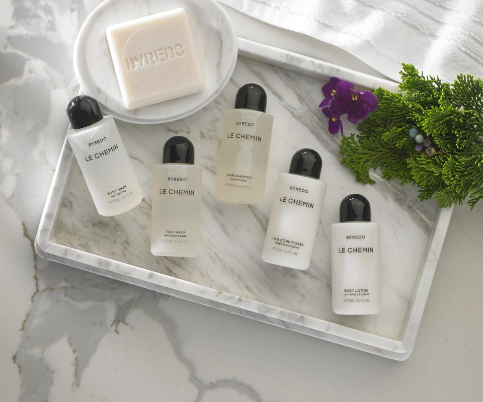 bath products in marble tray