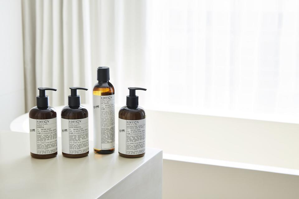 bath products next to tub