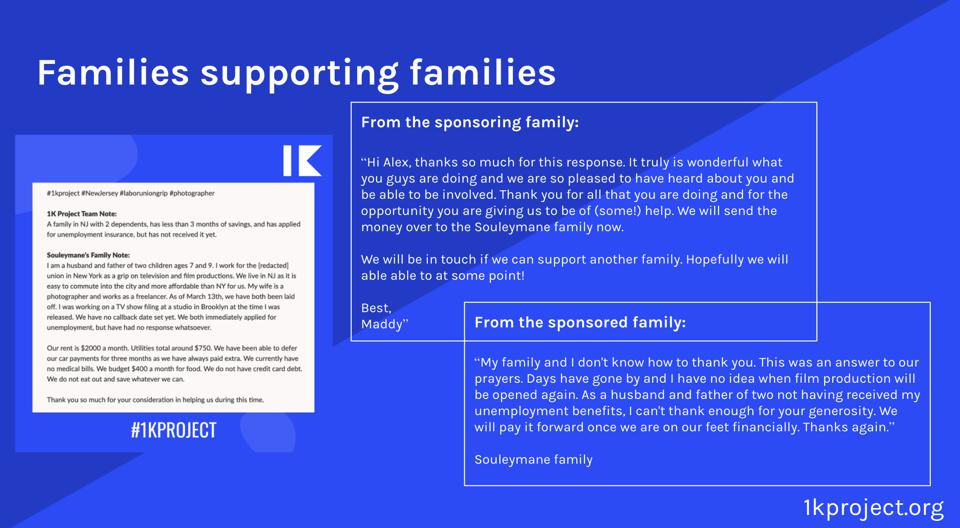 L to R: Family story, Note from the sponsoring family, note from the sponsored family