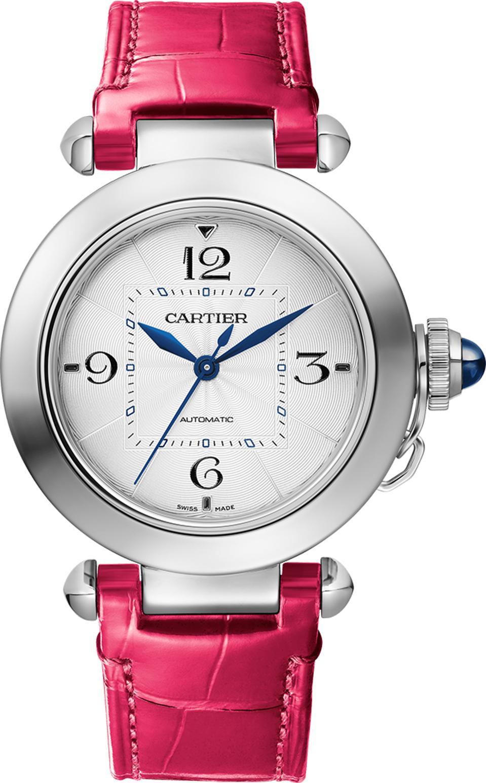 The new Pasha de Cartier comes with bracelet or interchangeable straps.